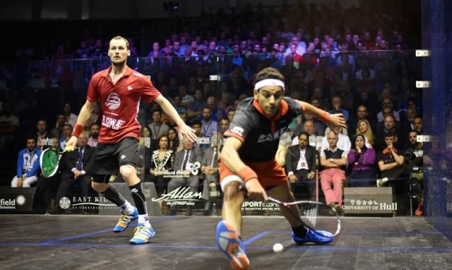 China top seeds Mohamed Elshorbagy and Gregory Gaultier in action in the British Open final. Picture by STEVE CUBBINS (www.britishopensquash,net)