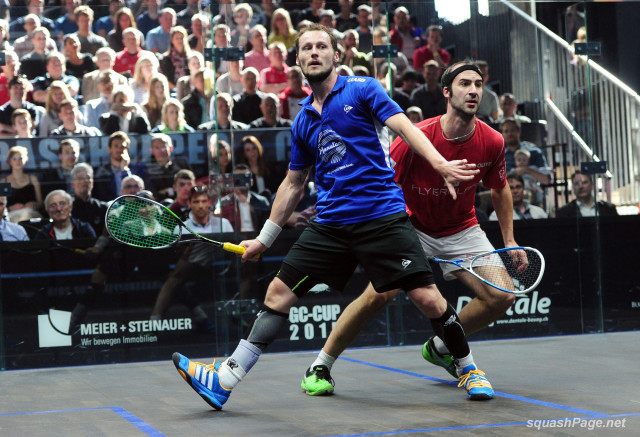Gregory Gaultier wins the Grasshopper Cup final in Zurich against Simon Rosner