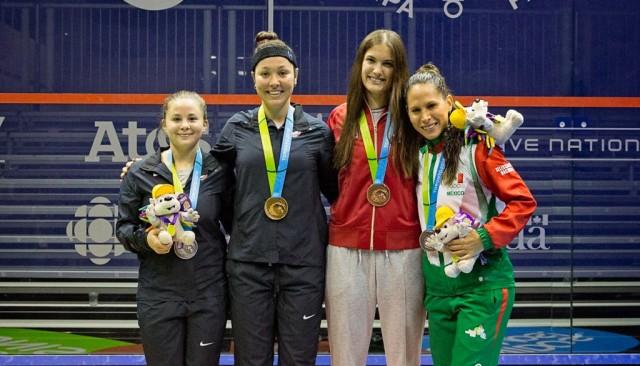 Olivia Blatchford (silver), gold medal winner Amanda Sobhy, and bronze for Samantha Cornett and Samantha Teran