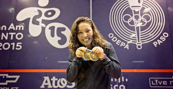 Golden girl Amanda Sobhy celebrates her third victory in the Pan-Am Games