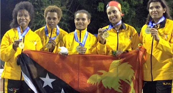 Lynette Vai (far right) with PNG team-mates