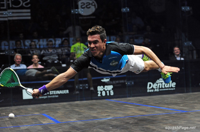 Squash fans watch every new dive by Miguel Rodriguez live on SquashTV
