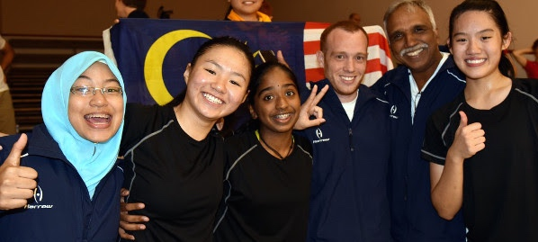 The Malaysian team celebrate their win over Hong Kong