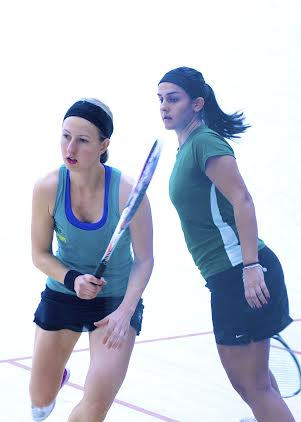 Alison Waters and Omneya Abdel Kawy in action during the 2014 final