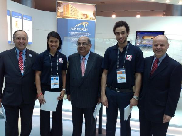 Under attack: WSF president Nayarama Ramachandran is flanked by Nicol David and Ramy Ashour