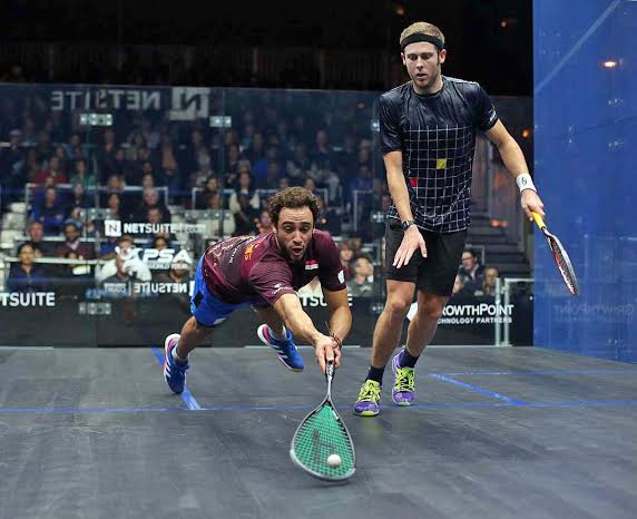 Ramy Ashour rushes to the front against Ryan Cuskelly