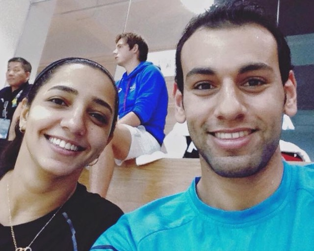 The best selfie in the history of squash with two number ones, Mohamed and Raneem