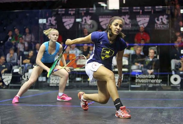 Raneem Elwelily on the attack against Emily Whitlock