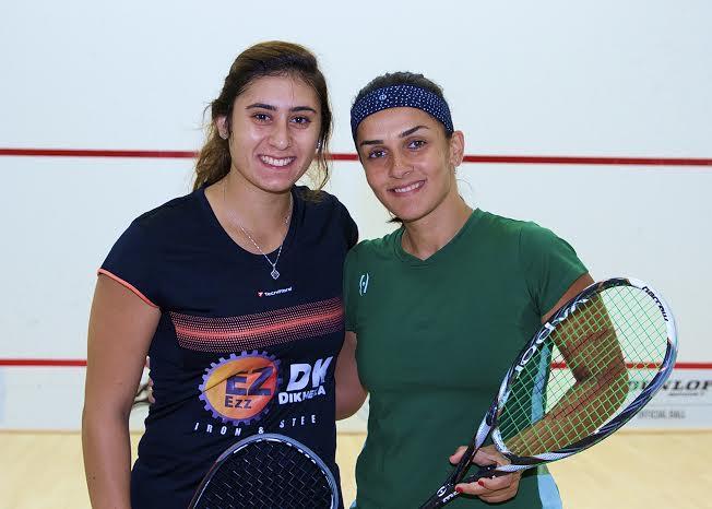 Nour El Sherbini (left) and Omneya Abdel Kawy