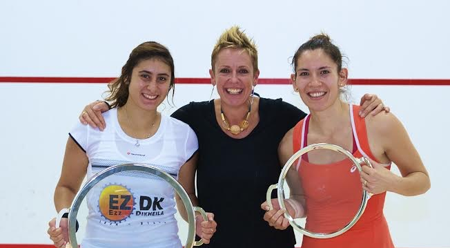 Nour El Sherbini (left) and runner-up Joelle King with Heights Casino's squash director Linda Elriani