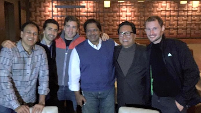 Gregory Gaultier and Mathieu Castagnet dined with squash legend Jahangir Khan