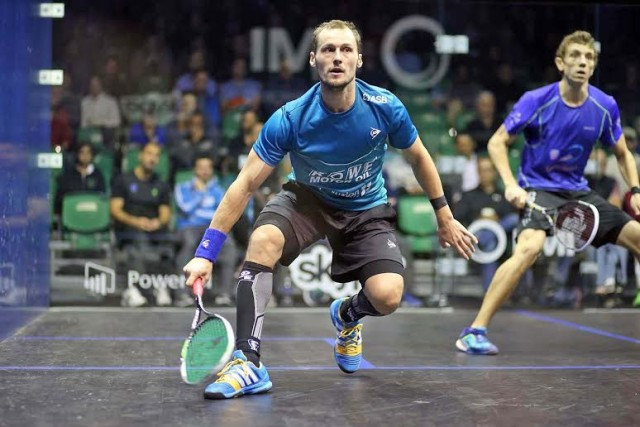 Gregory Gaultier wins the all-French first round tie against Lucas Serme