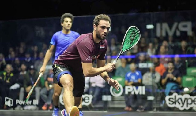 Ramy Ashour in action in the World Championship