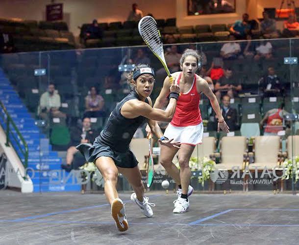 Nicol David winds up a big backhand against Nicolette Fernandes