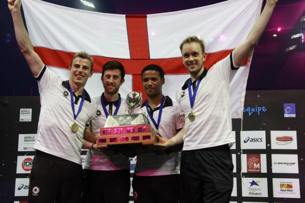 England's World Team champion in 2013: Nick Matthew, Daryl Selby, Adrian Grant and James Willstrop