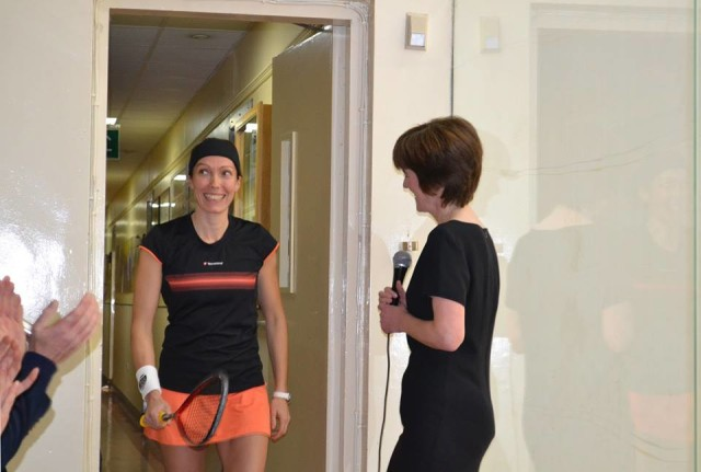 Madeline Perry enters the court at Fitzwilliam Club during her testimonial day