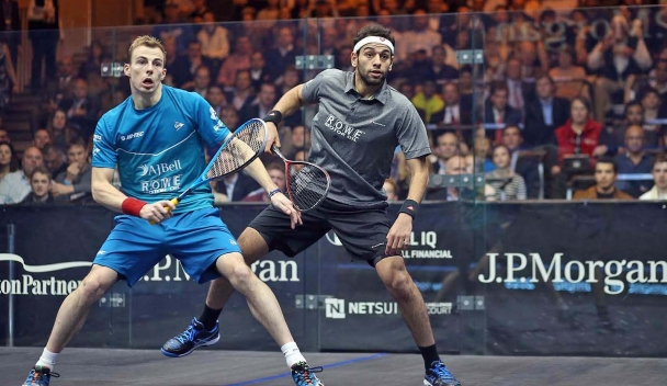 Elshorbagy (right) and Matthew slugged it out for 93 minutes
