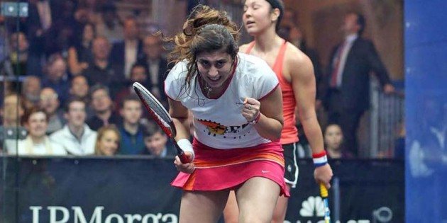 So happy: Nour El Sherwin celebrates her moment of victory against Amanda Sobhy