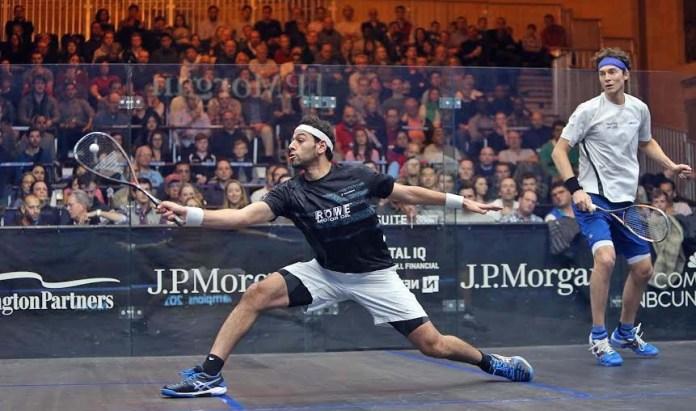 Mohamed Elshorbagy volleys against Cam Pilley