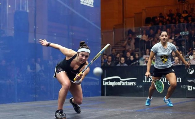 Amanda Sobhy on the attack at Grand Central