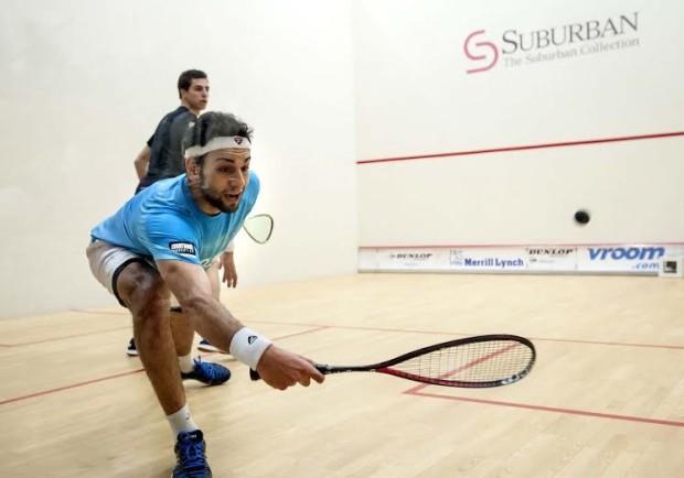 Mohamed Elshorbagy under pressure from Ali Farag