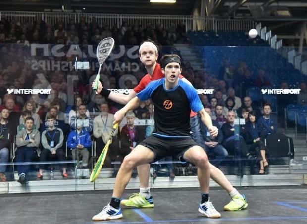Chris Simpson looks trapped as James Willstrop raises his racket