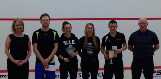 The finalists with CEO of Scottish Squash Maggie Still and President of Scottish Squash Jim Hay