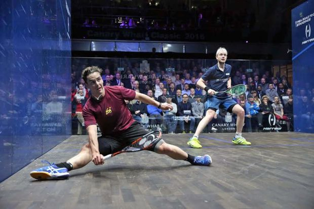Paul Coll does the splits against James Willstrop