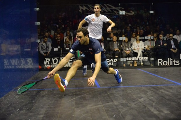 Ramy Ashour races to the ball