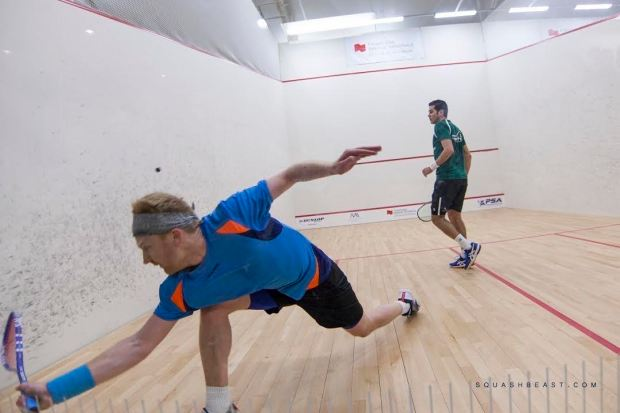 Tom Richards is put under pressure by Karim Gawad