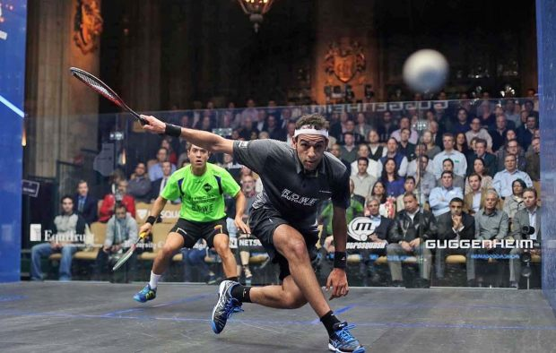 Mohamed Elshorbagy gets some power into his backhand against Miguel Rodriguez