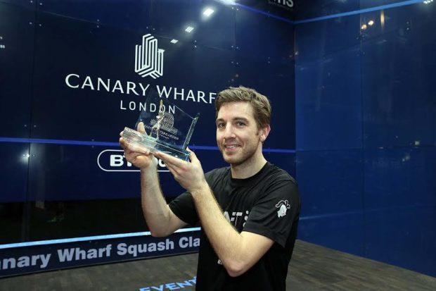 Champion! Mathieu Castagnet celebrates his victory at Canary Wharf