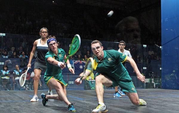 Australia's David Palmer and Rachael Grinham in action against India's Dipika Pallikal and Saurav Ghosal