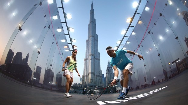 Squash world number one Mohamed Elshorbagy of Egypt took on eight time world champion Nicol David of Malaysia at Burj Park Downtown Dubai will be the venue for the PSA Dubai World Series Finals on May 24-28, pictured on April 10, 2016 in Dubai, United Arab Emirates. (Photo by Warren Little/Getty Images)