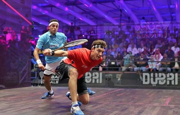Cam Pilley goes short against Mohamed Elshorbagy