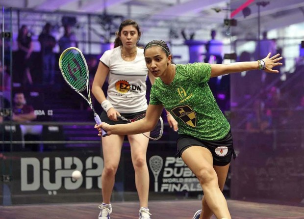 Raneem El Welily gets in front of Nour El Sherbini