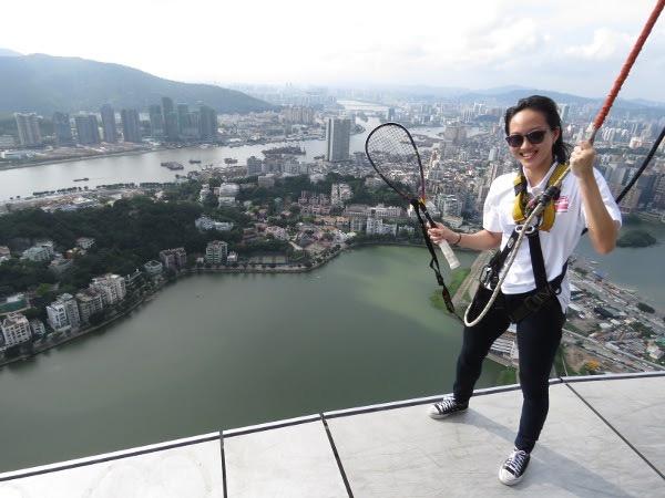 Aiming high in Macau: Low Wee Wern tries the Skywalk