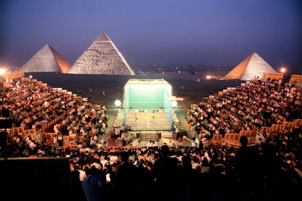 The glass court in front of the Giza pyramids, Cairo, for the 1997 Al Ahram International