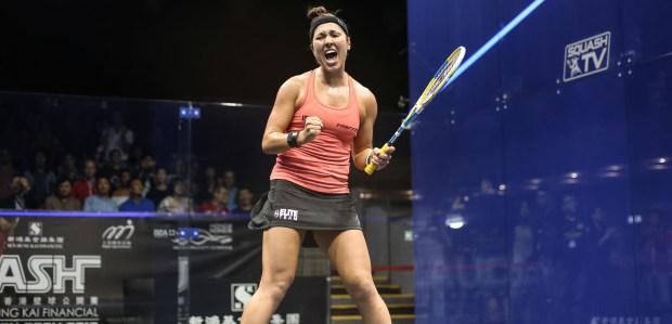 Amanda Sobhy celebrates reaching the Hong Kong final