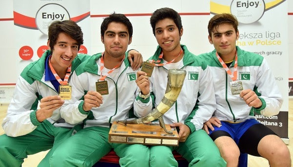 World Junior Team champions Pakistan celebrate after beating Egypt in the final
