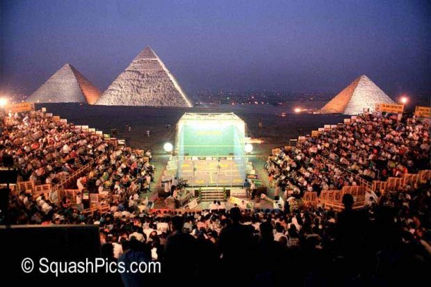 Squash court erected in front of the Giza pyramids, Cairo, for the 1997 Al Ahram International