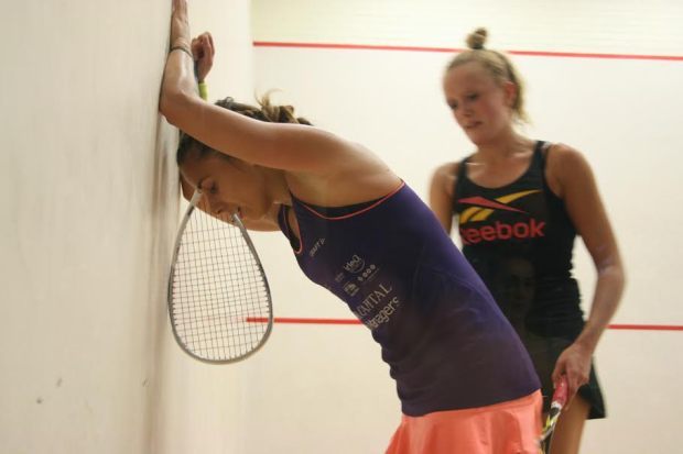 Wall game: Laura Pomportes takes in her Belfast victory