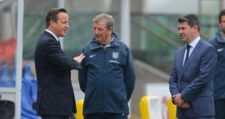 Adrian Bevington (right) with former England manager Roy Hodgson and former prime minister David Cameron