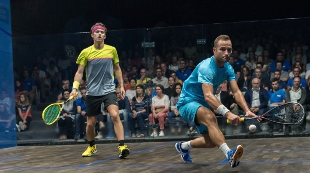 Gregoire Marche and Chris Simpson in action in the final