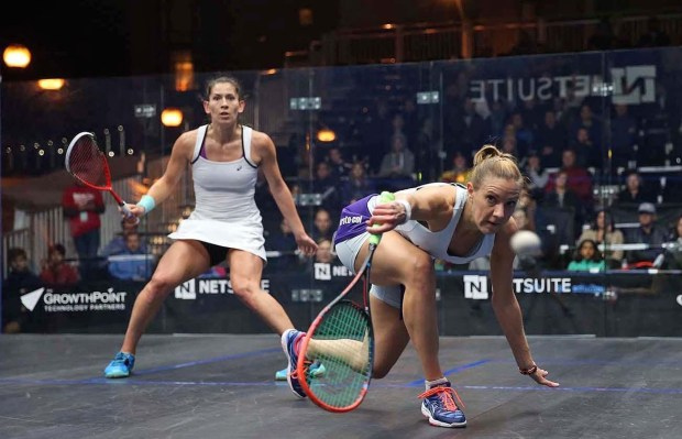 Laura Massaro gets down low to play a drop shot against Joelle King