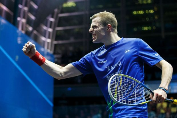 Go for it! Nick Matthew is pumped up for World Squash Day