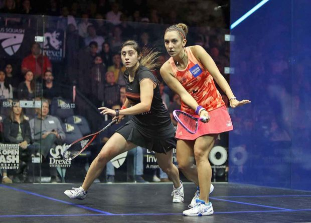 Camille Serme and Nour El Sherbini contest the US Open final