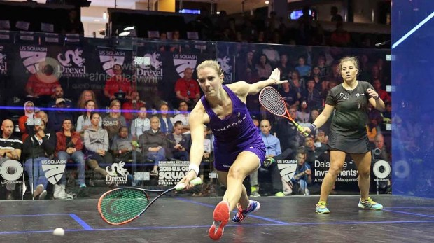 Laura Massaro looks in control at the front of the court