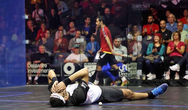 A relieved Mohamed Elshorbagy escapes defeat as Cesar Salazar leaves the court