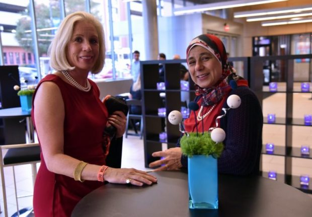 Ashley Bernhard (left) and Basma Elshorbagy, whose two sons played each other in the US Open last night